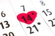 14 février saint Valentin sur un calendrier
