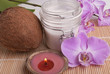 Cream, candle, coconut and orchid