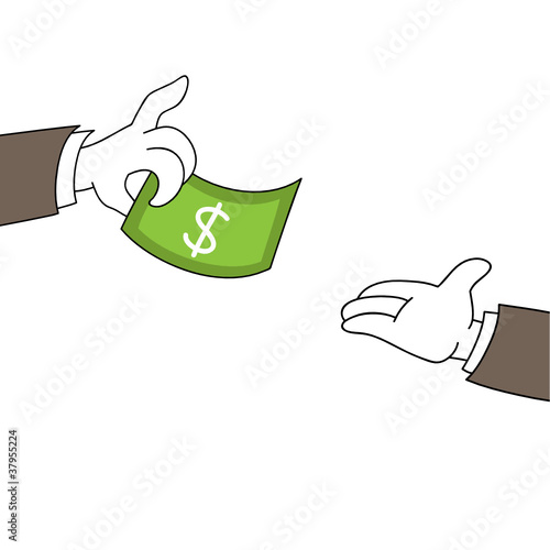 Hand giving a dollar bill