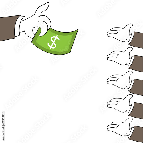 Hands, giving a dollar bill