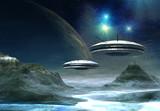 Fototapety Alien World - Fantasy Planet with UFO's