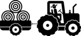 pictogram of a farmer on a tractor
