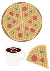 pizza and coffee ピザパイとコーヒー
