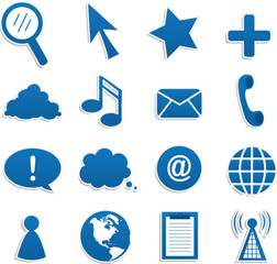 Various blue web icons