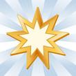 Baha'i Symbol, Gold nine pointed star, icon of the Baha'i faith.