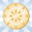 Buddhism Symbol, Lotus blossom, Gold icon of the Buddhist faith.