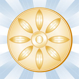 Buddhism Symbol, Lotus blossom, Gold icon of the Buddhist faith. poster