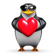 3d Penguin Love Heart