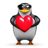 3d Penguin Love Heart