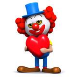 3d Clown Love Heart