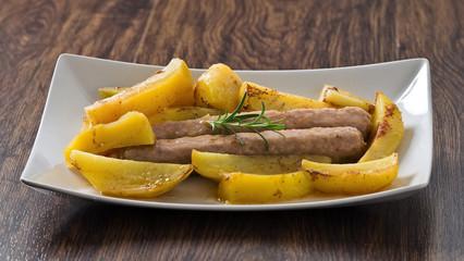 Sausage and potatoes.