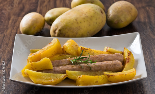 Sausage and potatoes.