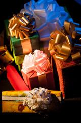 gift boxes on dark background