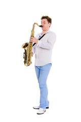 Young saxophonist plays the saxophone