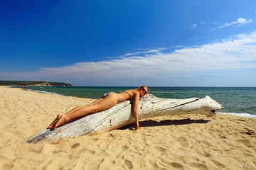 Beautiful young woman sunbathing on dry tree at wild beach