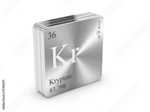 Krypton - element of the periodic table on metal steel block