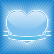 Blue heart with stars and ribbon