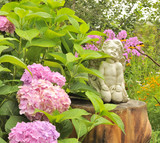 Angel Statue on Tree Stump in the Garden with Hydrangea Flowers