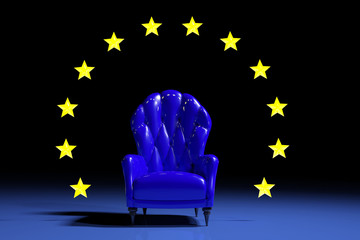 Blue european armchair
