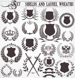 Fototapety set - shields and laurel wreaths