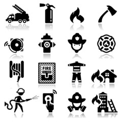 Icons set firefighter