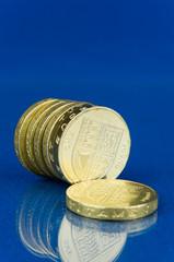 Row of pound coins