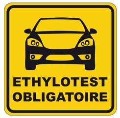 Panneau ethylotest obligatoire jaune et noir
