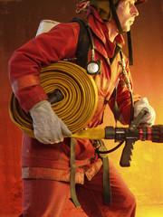 Bombero en un incendio.