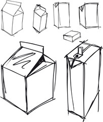 Sketch of milk boxes in some different angle. Vector illustratio