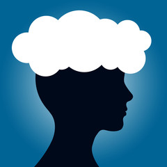Human head with cloud. Concern concept.
