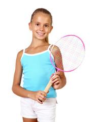 Pretty teenage girl with racket
