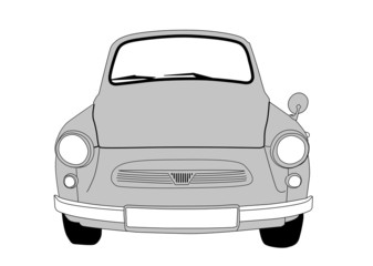 retro cars on white background