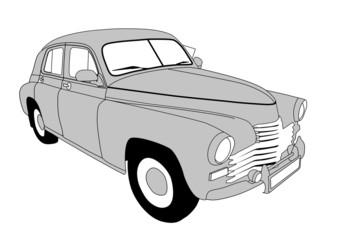 retro car on white background