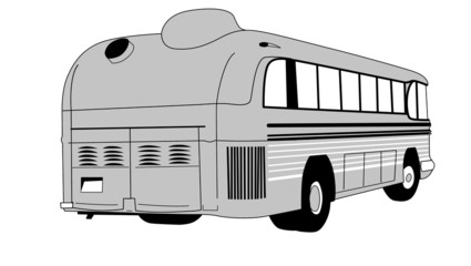 retro bus on white background
