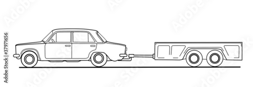 car with trailor on white background