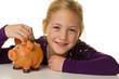 Kind mit Sparschwein. Dollar sparen