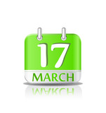 Green calendar icon on Saint Patrick's day