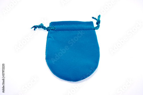 Blue  pouch to hold Jewelry and delicate items isolated on white