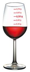 """Verre"""" de vin rouge gradué avec taux d'alcool"""