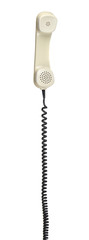old telephone headset with spiral cable