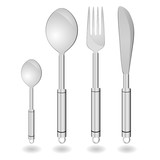 cutlery in silver color vector illustration