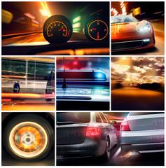 Kolaż samochody nocą prędkość