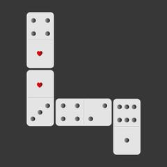 domino 2 coeurs