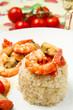 tortino di riso con gamberi e cozze