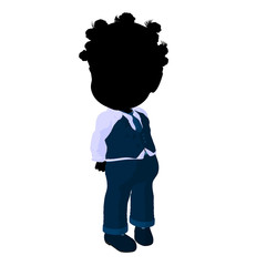Little African American Business Girl Illustration