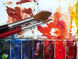 Colorful well used artists watercolor paintbox palette