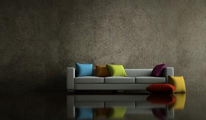 Wohndesign - Sofa vor Steinwand