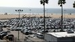 Parking lot on Santa Monica Beach, Los Angeles, California