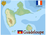 guadeloupe island france map flag emblem