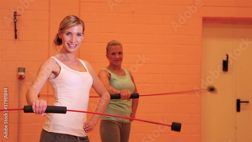Women fitness course in gym